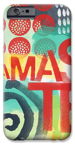 Stripes iPhone Cases - Namaste- Contemporary Abstract Art iPhone Case by Linda Woods
