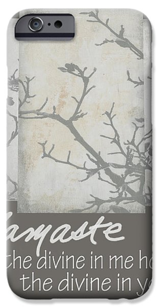 Words On Art iPhone Cases - Namaste Quote iPhone Case by Ann Powell