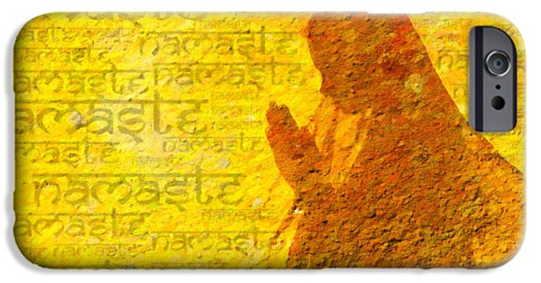 Prayer Digital Art iPhone Cases - Namaste  iPhone Case by Tim Gainey