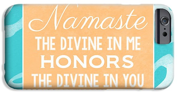 Wisdom iPhone Cases - Namaste Watercolor Flowers- blue iPhone Case by Linda Woods