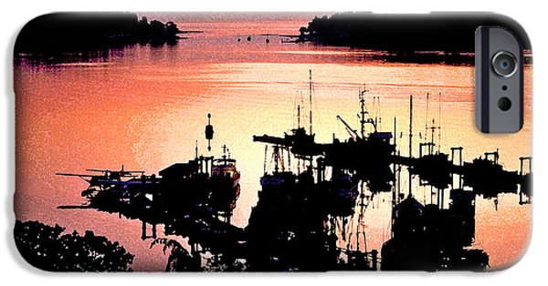 Abstract Seascape iPhone Cases - Nanaimo Harbor iPhone Case by Chas Burnam
