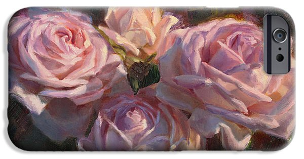 First Lady iPhone Cases - Nanas Roses Impressionistic Oil Painting of Beautiful Flowers iPhone Case by Karen Whitworth