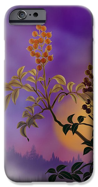 Celebrate Mixed Media iPhone Cases - Nandina The Beautiful iPhone Case by Bedros Awak