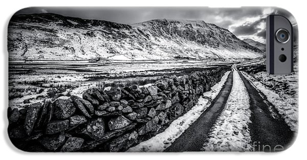 Winter Digital Art iPhone Cases - Nant Ffrancon Pass v2 iPhone Case by Adrian Evans
