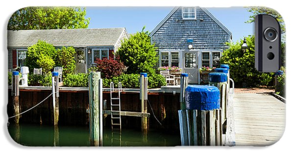 Nantucket iPhone Cases - Nantucket Boat Basin Cottages in the Spring iPhone Case by Michelle Wiarda
