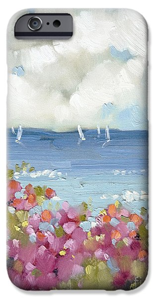 Sailboat Paintings iPhone Cases - Nantucket Sea Roses iPhone Case by Joyce Hicks