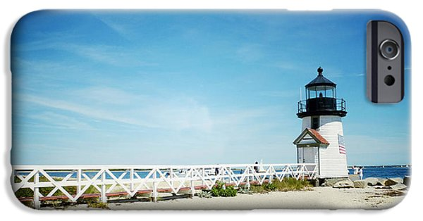 Nantucket iPhone Cases - Nantuckets Brant Point Lighthouse iPhone Case by Natasha Marco