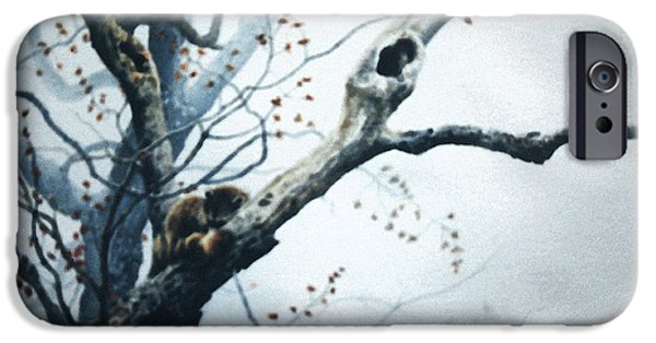 Woodlands Scene Paintings iPhone Cases - Nap In The Mist iPhone Case by Hanne Lore Koehler