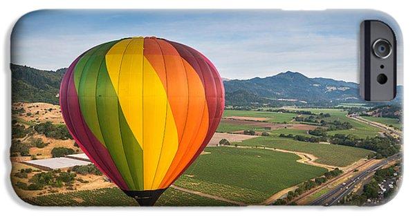 California Vineyard iPhone Cases - Napa Valley Balloon Aloft iPhone Case by Steve Gadomski