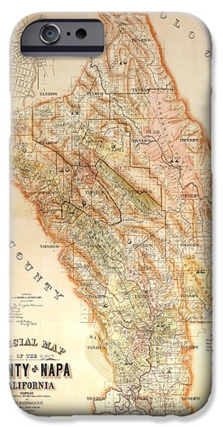 Red Wine iPhone Cases - Napa Valley Map 1895 iPhone Case by Jon Neidert