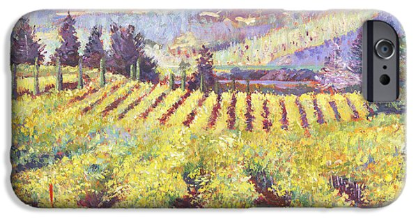 Featured Paintings iPhone Cases - Napa Valley Vineyards iPhone Case by David Lloyd Glover