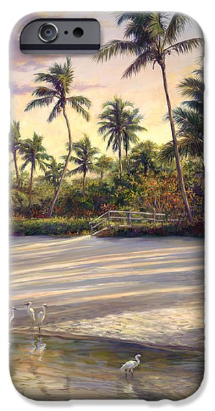 Beach Landscape Paintings iPhone Cases - Naples Sunrise iPhone Case by Laurie Hein