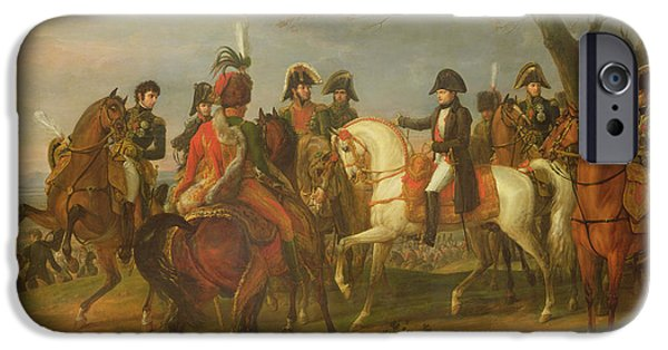 Fourth Photographs iPhone Cases - Napoleon 1769-1821 Giving Orders Before The Battle Of Austerlitz, 2nd December 1805, 1808 Oil iPhone Case by Antoine Charles Horace Vernet