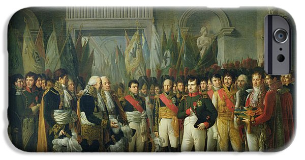 Deputy iPhone Cases - Napoleon I 1769-1821 Receiving The Deputies Of The Conservative Senate At The Royal Palace iPhone Case by Rene Theodore Berthon