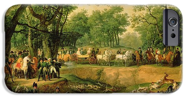 Horse iPhone Cases - Napoleon On A Hunt In The Compiegne Forest, 1811 Oil On Canvas iPhone Case by Antoine Charles Horace Vernet
