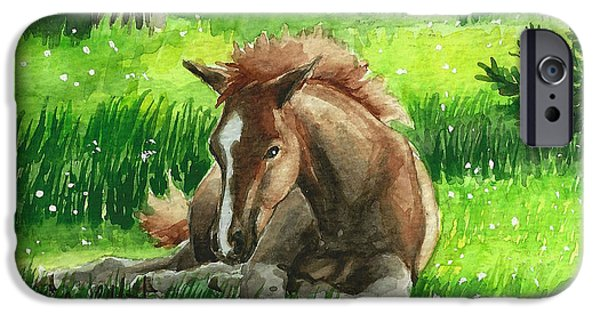 Llmartin iPhone Cases - Napping Alberta Wild Foal iPhone Case by Linda L Martin
