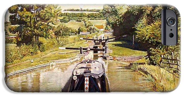 The Hills iPhone Cases - Napton Top Lock, 2008 Oil On Canvas iPhone Case by Kevin Parrish