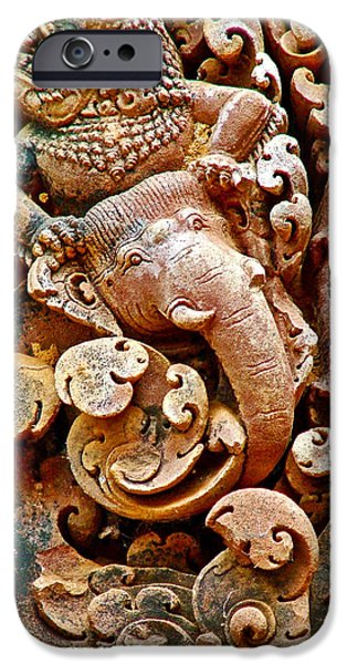 Incarnation iPhone Cases - Narasimba Elephant Incarnation of Vishnu at Bantheay Srei in Angkor Wat Archeologial Park-Cambodia iPhone Case by Ruth Hager