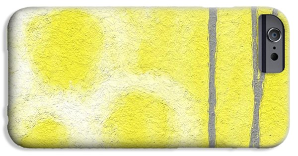 Yellow And Grey Abstract Art iPhone Cases - Narcissus iPhone Case by Linda Woods