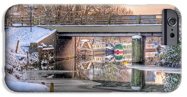 Reflections In River iPhone Cases - Narrow Boats Under the Bridge iPhone Case by Gill Billington