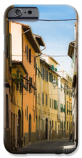 Tuscan Road iPhone Cases - Narrow italian street Pistoia Italy iPhone Case by Peter Noyce