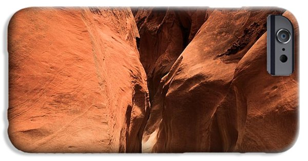 Holes In Sandstone iPhone Cases - Narrow Red Rock Slots iPhone Case by Adam Jewell