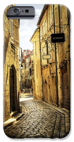 Historic Buildings iPhone Cases - Narrow street in Perigueux iPhone Case by Elena Elisseeva