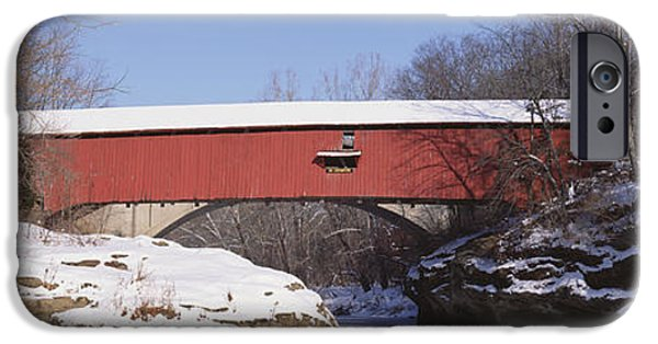 Covered Bridge iPhone Cases - Narrows Covered Bridge Turkey Run State iPhone Case by Panoramic Images