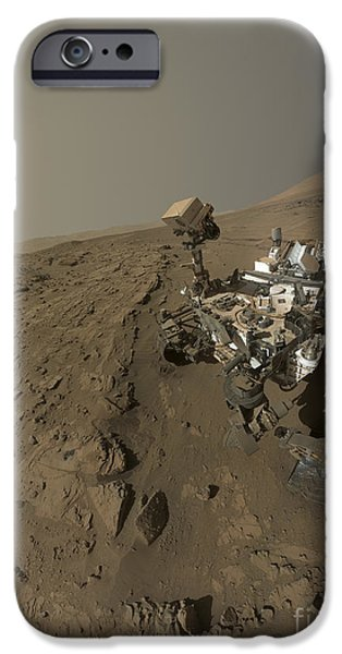 Self Discovery iPhone Cases - Nasas Curiosity Mars Rover On Planet iPhone Case by Stocktrek Images