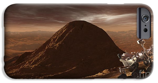 Mounds Digital iPhone Cases - Nasas Curiosity Rover Climbing iPhone Case by Steven Hobbs