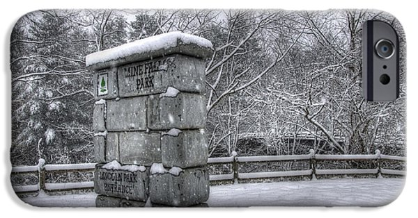 New England Snow Scene iPhone Cases - Nashua NH - Mine Falls Park iPhone Case by Joann Vitali