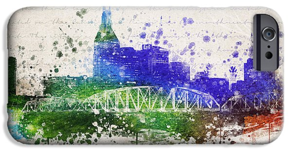 Nashville Tennessee iPhone Cases - Nashville in Color iPhone Case by Aged Pixel