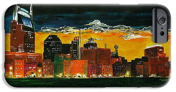 Nashville Paintings iPhone Cases - Nashville Night iPhone Case by Vickie Warner