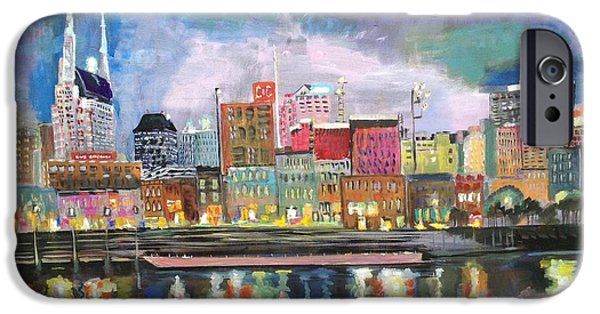 Nashville Tennessee Paintings iPhone Cases - Nashville reflections  iPhone Case by MayLill Tomlin