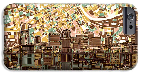 Abstract Digital Digital iPhone Cases - Nashville Skyline Abstract 4 iPhone Case by MB Art factory