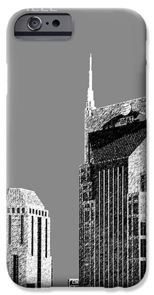 Nashville Skyline AT and T Batman Building - Pewter iPhone Case by DB Artist