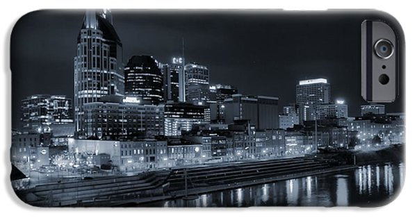 Nashville Architecture iPhone Cases - Nashville Skyline At Night iPhone Case by Dan Sproul
