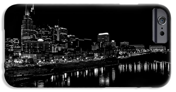 Nashville Tennessee iPhone Cases - Nashville Skyline At Night In Black And White iPhone Case by Dan Sproul