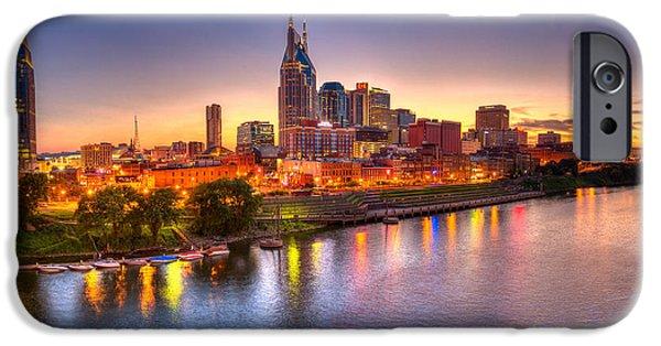 Tennessee Landmark iPhone Cases - Nashville Skyline iPhone Case by Brett Engle