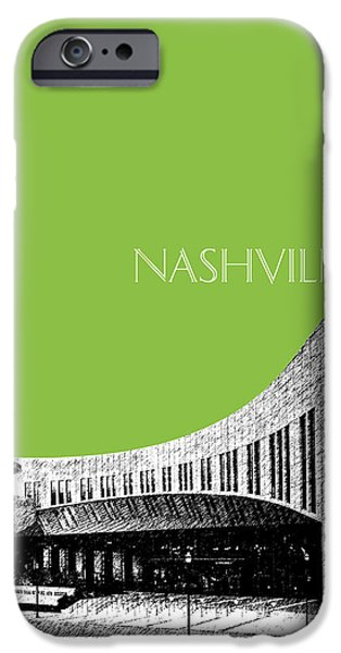Pen And Ink iPhone Cases - Nashville Skyline Country Music Hall of Fame - Olive iPhone Case by DB Artist