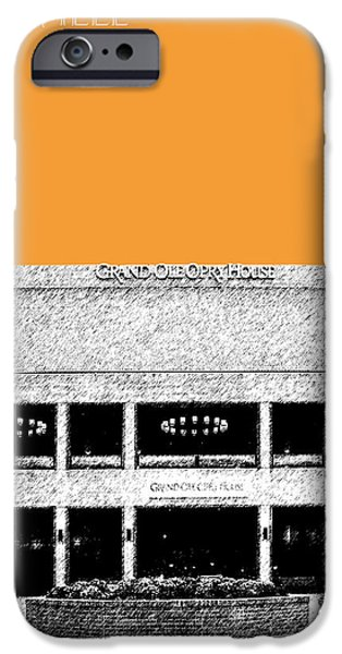 Pen And Ink iPhone Cases - Nashville Skyline Grand Ole Opry - Orange iPhone Case by DB Artist