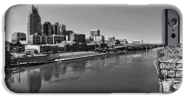 Nashville Skyline iPhone Cases - Nashville Skyline In Black And White At Day iPhone Case by Dan Sproul