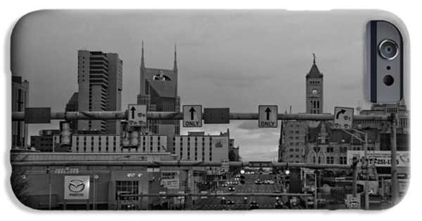 Nashville Skyline iPhone Cases - Nashville Skyline In Black And White iPhone Case by Dan Sproul