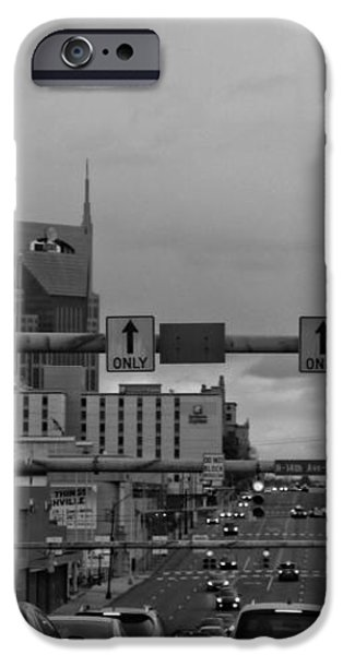 Nashville Skyline In Black And White iPhone Case by Dan Sproul