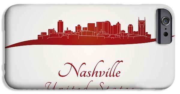 Nashville Skyline iPhone Cases - Nashville skyline in red iPhone Case by Pablo Romero