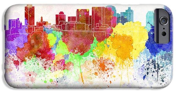 Nashville Skyline iPhone Cases - Nashville skyline in watercolor background iPhone Case by Pablo Romero