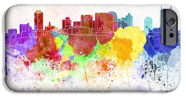 Nashville Tennessee Paintings iPhone Cases - Nashville skyline in watercolor background iPhone Case by Pablo Romero