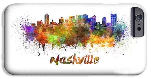 Nashville Tennessee Paintings iPhone Cases - Nashville skyline in watercolor iPhone Case by Pablo Romero