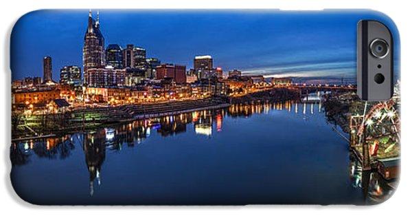 Tennessee Landmark iPhone Cases - Nashville Skyline Panorama at Night iPhone Case by Brett Engle