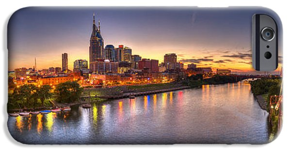 Buildings iPhone Cases - Nashville Skyline Panorama iPhone Case by Brett Engle